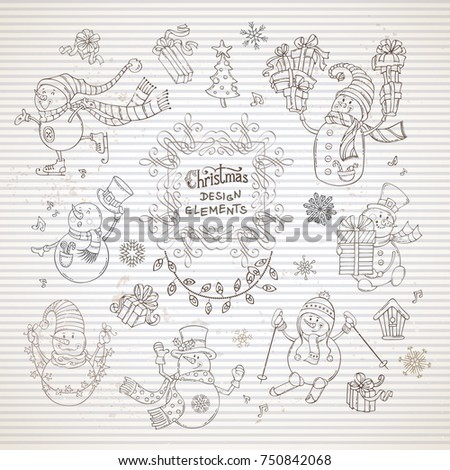 Vector set of cute snowmen on striped paper background. Snowman with skate, ski, Christmas song, gifts, hat and scarf, garland, birdhouse. Vintage Christmas tree, music notes and snowflakes.