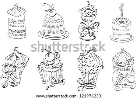 Vector set of cute sweet cupcakes - stock vector