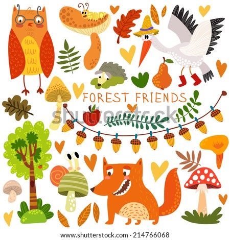 Vector Set of Cute Woodland and Forest Animals. Owl, fox, snail, crane,hedgehog, snail, worm.(All objects are isolated groups so you can move and separate them) - stock vector