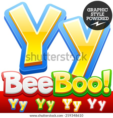 Vector set of 3D colorful children font in cartoon style. Optional different colors. Letter Y - stock vector