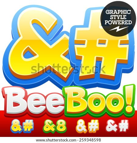 Vector set of 3D colorful children font in cartoon style. Optional different colors. Symbols - stock vector