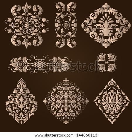Vector set of damask ornamental elements. Elegant floral abstract elements for design. Perfect for invitations, cards etc.