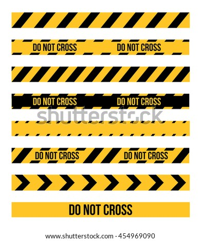 Vector set of Danger and Police Tape Lines for restriction and dangerous zones, construction site, crime places, EPS8 illustration