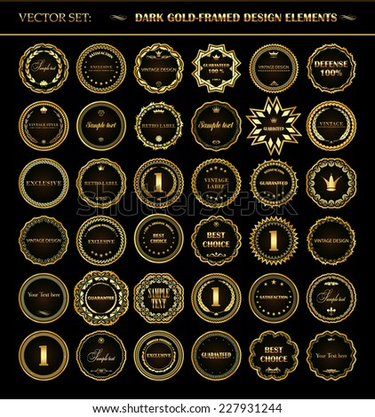 Vector set of dark gold-framed design elements. - stock vector