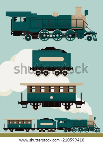 Vector set of dark green steam locomotive with cars | Vintage train set | Railroad steam engine, coal car and passenger car - stock vector