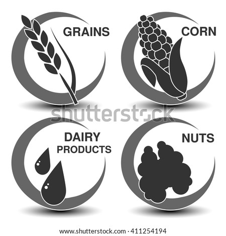 Vector set of dark grey allergen symbols. Icon of grains, corn, dairy products and nuts. Sign of food allergy in a circle.