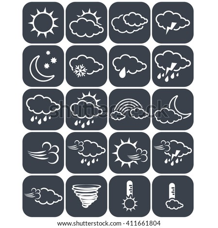 Vector set of dark grey weather buttons, square elements of forecast, line design - icon of sun, cloud, rain, moon, snow, wind, whirlwind, rainbow, storm, tornado, thermometer