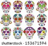Vector Set of Day of the Dead or Sugar Skulls - stock vector