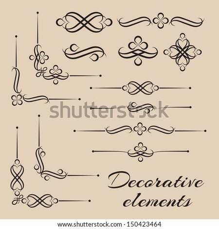 Vector set of decorative calligraphic design elements & page decor - stock vector