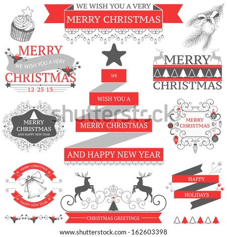 Vector set of decorative Christmas and New year's icons isolated on white. - stock vector