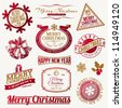 Vector set of decorative Christmas holidays emblems and labels - stock vector