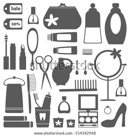 Vector set of decorative  cosmetic icons isolated on white. - stock vector