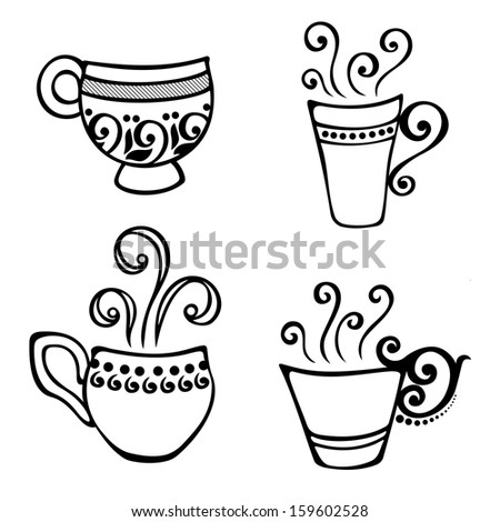 Vector Set of Decorative Cup of Coffee with Steam - stock vector