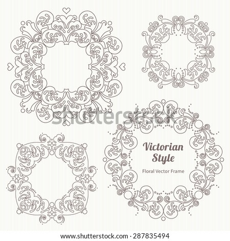 Vector set of decorative frames in Victorian style. Elegant element for design template. Outline floral border. Line art decor for birthday and greeting card, wedding invitation, Thank you message. - stock vector