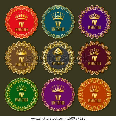 Vector set of  decorative gold ornate frames, labels for design invitation, card, menu. Floral elements, crowns, place for text. EPS 10. - stock vector