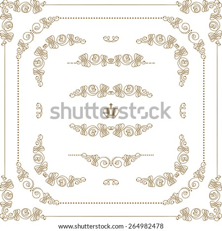 Vector set of decorative hand drawn border, divider, frame with floral elements for design of invitation, greeting, wedding, gift card, certificate, diploma, voucher. Page decoration in vintage style. - stock vector