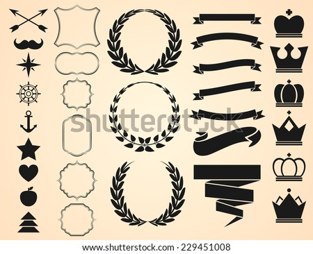 Vector set of Decorative Ornament Borders and Page Dividers, frames, ribbons, banners, crowns, circular laurel foliate and wheat wreaths depicting and objects for vintage design. - stock vector