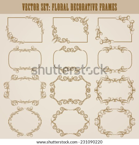 Vector set of decorative ornate border and frame with floral elements for invitations. Page decoration. - stock vector