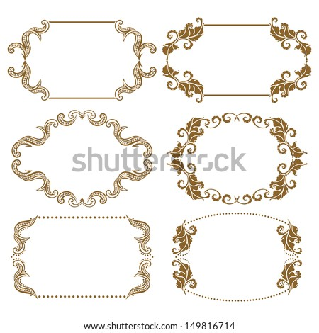 Vector set of decorative ornate frame with floral elements for invitations. Page decoration. - stock vector