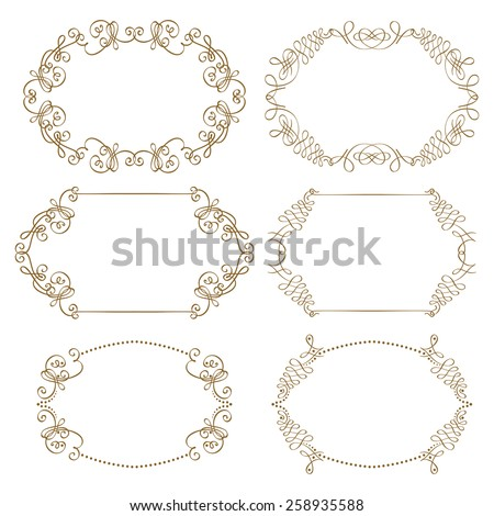 Vector set of decorative ornate frames with floral elements for design of invitation, greeting, gift card. Page decoration in vintage style. - stock vector