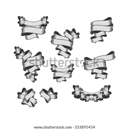 Vector set of decorative ribbons of various shapes and complexity on a white background