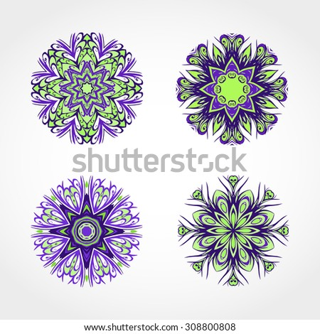 Vector set of decorative round ornaments. Design elements in purple and green colors.
