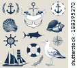 Vector set of decorative  sea elements and vintage hand drawn sea illustrations - stock vector