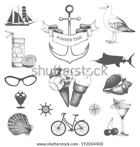 Vector set of decorative sea elements and vintage hand drawn summer holiday illustrations isolated on white - stock vector