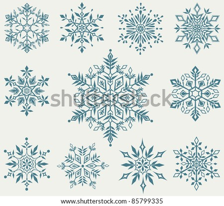 Vector set of decorative snowflakes - stock vector