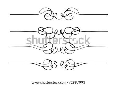 Vector set of decorative swirl ornament page rules - stock vector