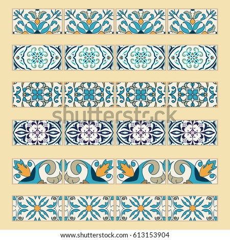 decorative tile vector set decorative tile borders collection stock vector