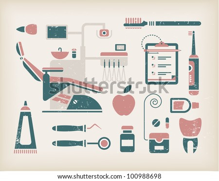 Vector set of dentist icons and teeth care - stock vector
