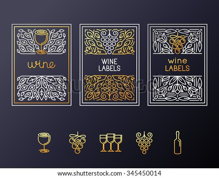 Vector set of design elements and icons for wine packaging and labels - icons and frames with copy space for text - stock vector