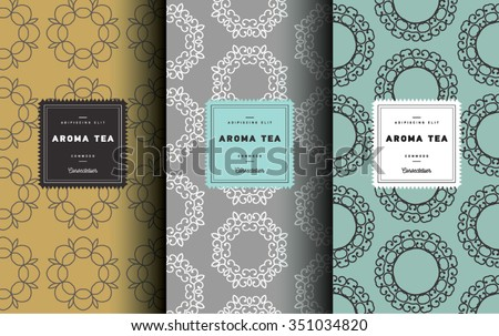 Vector set of design elements and icons in trendy linear style for tea package - white,black and green tea. Seamless pattern - stock vector