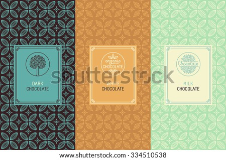 Vector set of design elements and seamless pattern for chocolate packaging - labels and background in  linear style - dark, white and milk chocolate - stock vector