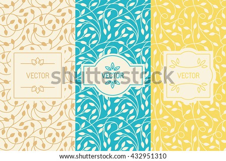 Vector set of design elements, borders and frames, seamless patterns for natural cosmetics or beauty product packaging - abstract backgrounds with flowers and leaves