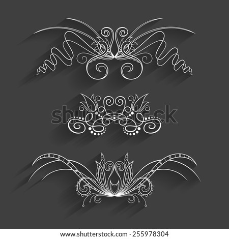 Vector Set of Design Elements for Page Border. Frames and Scroll Elements - stock vector