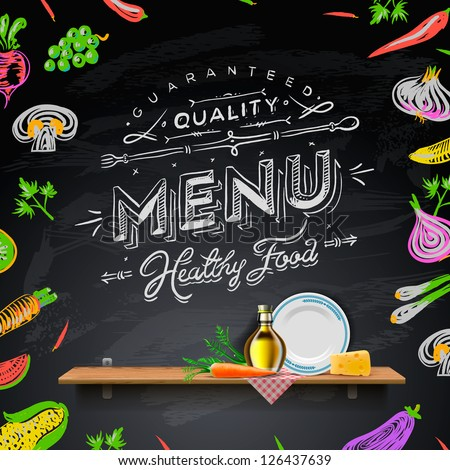 Vector set design elements menu on stock vector 126437639 vector set of design elements for the menu on the chalkboard sciox Images