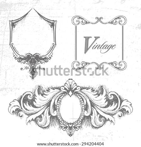 Vector set of design elements. Handmade - stock vector