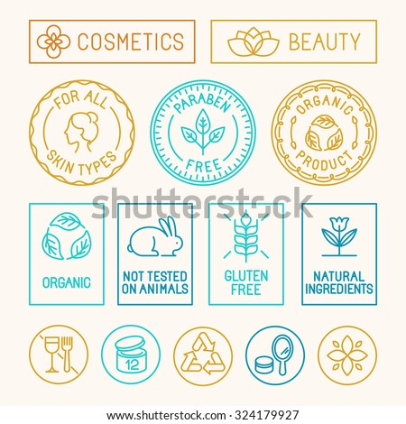 Vector set of design elements, icons and badges in trendy linear style for natural cosmetics packaging - paraben free, organic product, not tested on animals