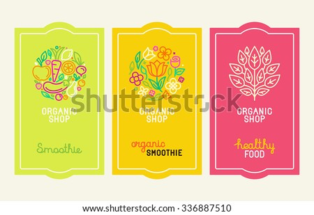Vector set of design elements, icons and hand-lettering in trendy linear style - logo design templates and concepts for packaging and labels for fresh juices, diet smoothie and healthy food - stock vector