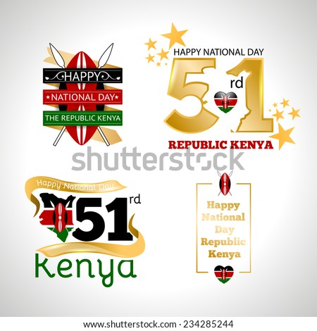 vector set of design elements labels badges on the theme of independence Day of the Republic Kenya - stock vector