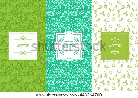 Vector set of design elements, seamless patterns and backgrounds for organic, healthy and vegan food packaging - green labels and emblems for vegetarian products, shops and websites with copy space - stock vector