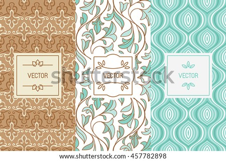 Vector set of design elements, seamless patterns and label templates for cosmetic and beauty product packaging or business card backgrounds, in trendy minimal linear style with floral ornaments  - stock vector