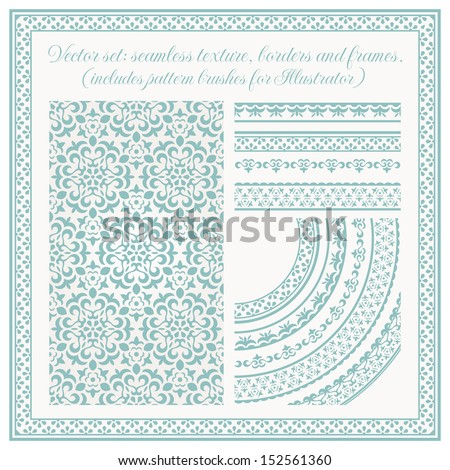 Vector set of design elements: seamless texture, borders, frames. EPS 10 vector includes pattern brushes for Illustrator. All frames are available under the clipping mask. - stock vector