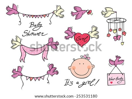 Vector set of design elements with hand drawn script, newborn baby face, birds carrying garlands, ribbon, heart, placard and module.