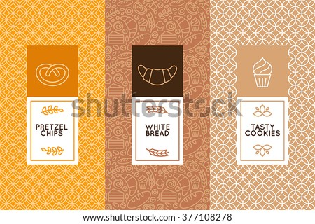 Vector set of design templates and elements for bakery packaging in trendy linear style - stock vector