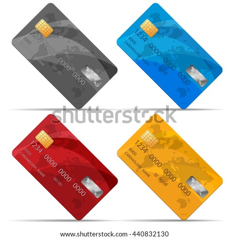 Vector Set of detailed credit cards, isolated on white - stock vector