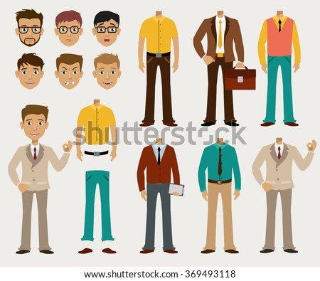Vector set of details to create a your ideal Businessman in a cardboard cartoon style - stock vector