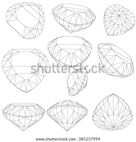 Vector set of diamond design elements